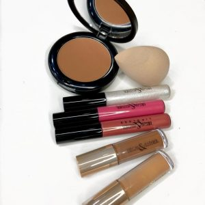 Best Lipgloss, Concealer, Blending Sponge, Pressed Powder bundle by Hegai and Esther